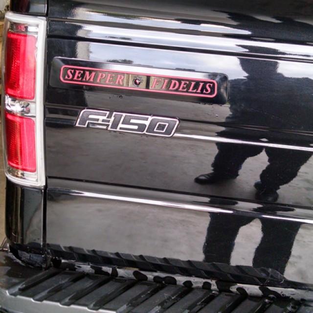 Semper Fi Black w Red Letters Tour Pac Truck1